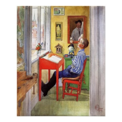 Carl Larsson, Esbjörn gör hans läxa, 1912.