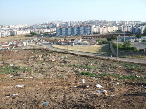 Förstörd odlingsmark i Amadora.