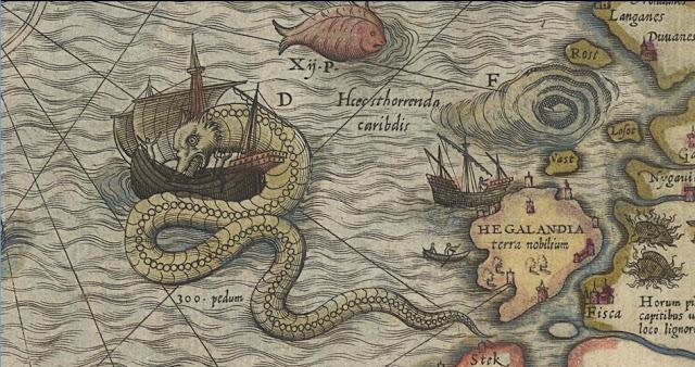 Ett sjöodjur attackerar ett skepp på en renässanskarta från 1500-talet, ur Civitates orbis terrarum.