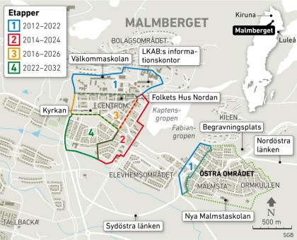 LKAB:s evakueringsplan fram till 2032 för Malmberget
