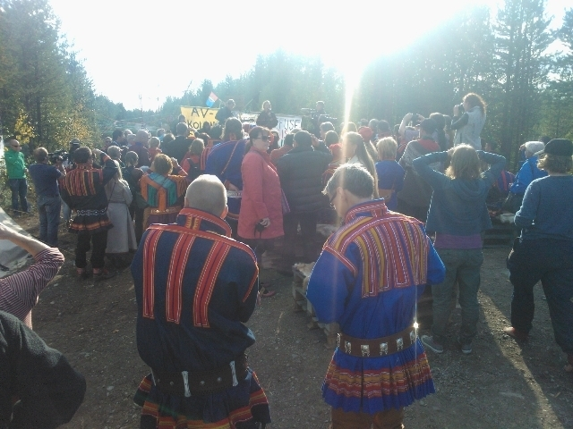 Protester mot Kallakgruvan, Jokkmokk augusti 2013.