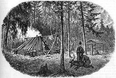 Skogssamer, Arvidsjaur, träsnitt efter foto av Lotten von Duben, 1871