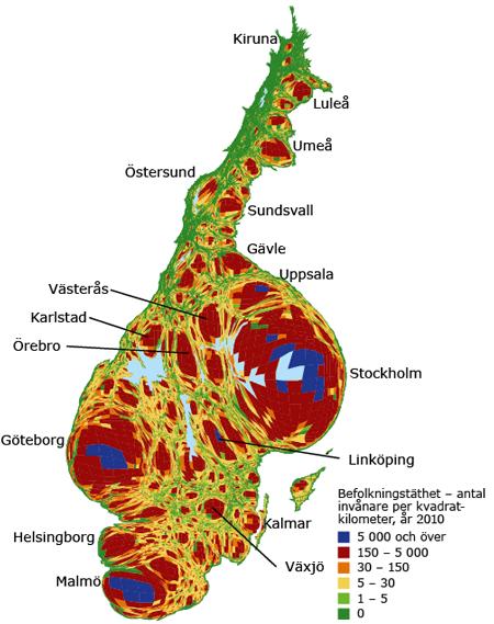 Sverige - Karta om geografin stod i relation till befolkningstäthet.