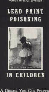 Informationsfolder från Baltimore Health Department som varnar för bly i husfärger, 1990t.