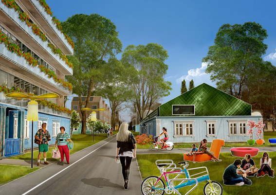 Visioner om ett nytt stadsrum och uni -campus. Bild ur Bud Cud, http://www.budcud.org/osiedle-przyjazn-2-0/