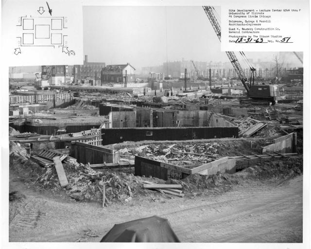 Rivningen av kvarten kring Hull-House, Chicago, foto UIC Archive 1963.