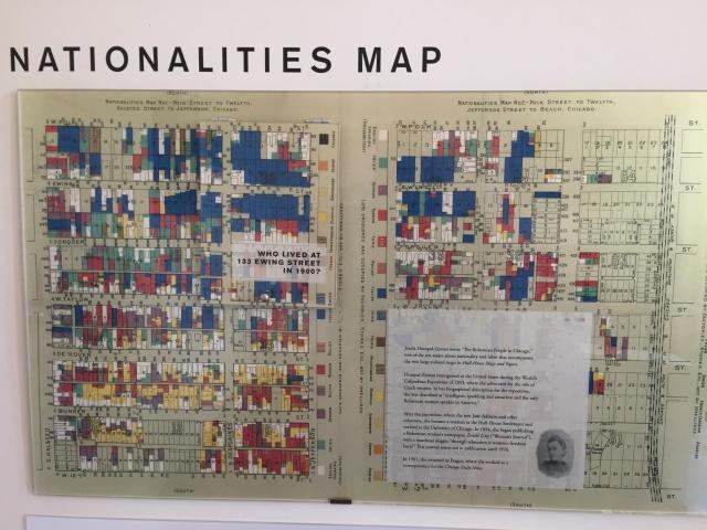 Kartografering över nationaliteter och boende i Hull-House settlement kvarteren i Chicago. Foto: HF.