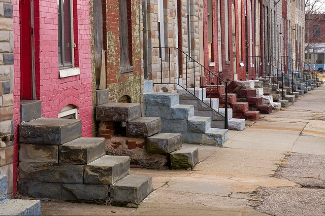 Rowhouse stoops in Baltimore.
